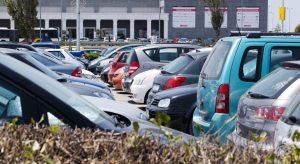 cars on car hire company forecourt